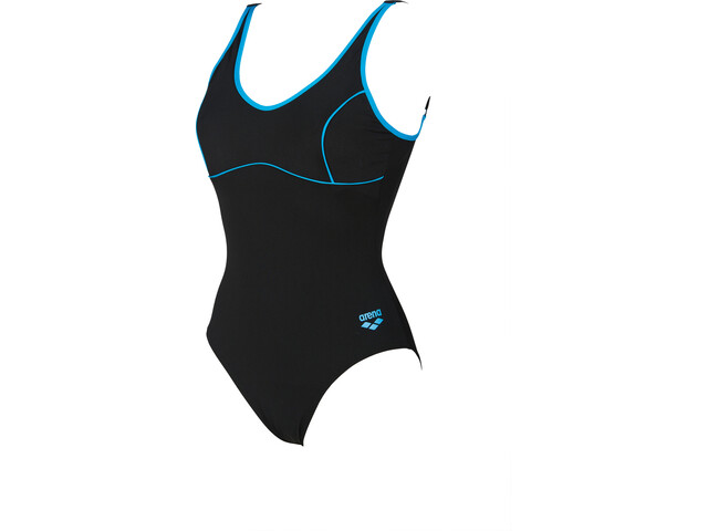 arena Tania Clip Back One Piece Swimsuit Dames, black-turquoise
